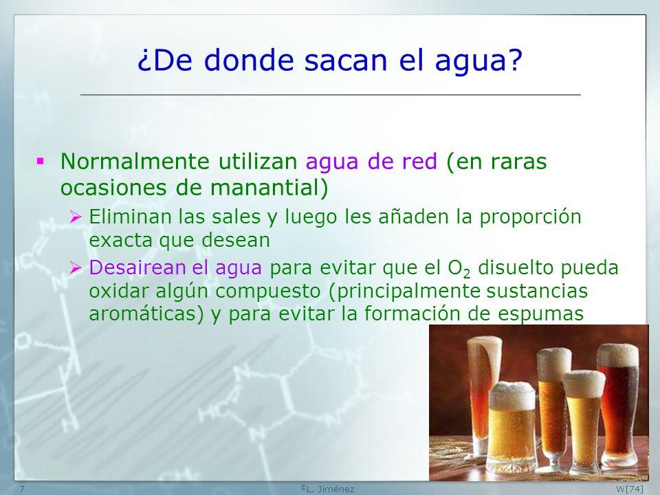 W [74] ©L. Jiménez. ¿De donde sacan el agua Normalmente utilizan agua de red (en raras ocasiones de manantial)
